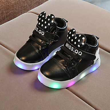 voordelige Babyschoenentjes-Jongens / Meisjes Comfortabel / Oplichtende schoenen PU Laarzen Peuter (9m-4ys) / Little Kids (4-7ys) Veters / Magic tape / LED Wit / Zwart / Roze Lente & Herfst