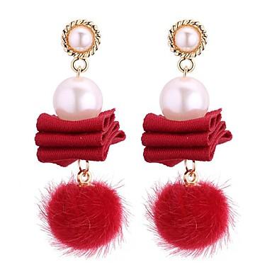 Dame Perle Dråpeøreringer damer Vintage Mote Imitert Perle øredobber Smykker Grå / Rød / Marineblå Til Fest / aften Bursdag 1 par