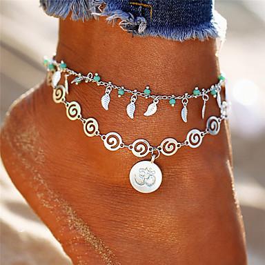 Dame fotlenke føtter smykker Multi Layer 3D Blad Formet donuts damer Bohemsk Mote Ankel Smykker Sølv Til Ferie Bikini