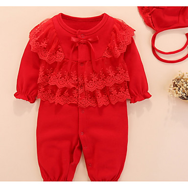 cheap Clearance-Baby Girls' Basic Daily Solid Colored Lace up / Basic Half Sleeve Cotton Romper Red