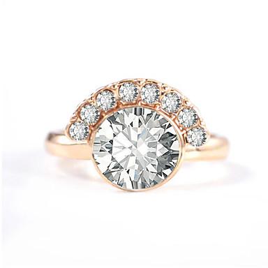 billige Motering-Dame Ring Diamant Krystall Kubisk Zirkonium 1pc Gull Sølv Legering Halvsirkel Sirkelformet damer Klassisk Koreansk Bryllup Engasjement Smykker umake Sol Blomst Stjerne