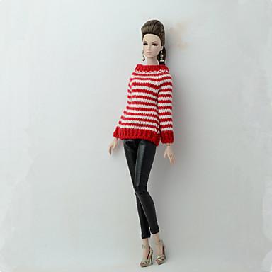 levne Doplňky pro panenky-Svetr pro panenky a svetr Oddělená těla Kalhoty 2 pcs Pro Barbie Módní červená + černá Textil Polybavlna Umělá kůže Vrchní deska / Kalhoty Pro Dívka je Doll Toy