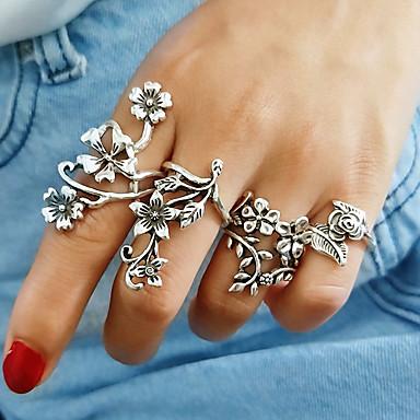 levne Dámské šperky-Dámské Band Ring Sada kroužků 4ks Stříbrná Slitina dámy Vintage Evropský Denní Šperky Duté Kytky