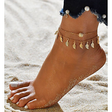 Dame Ankel føtter smykker Blad Formet damer Dobbelt Lagdelt Ankel Smykker Gull / Sølv Til Ut på byen Bikini