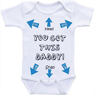 cheap Baby Boys' One-Piece-Baby Boys' Basic Daily Print Printing Short Sleeves Cotton Bodysuit White