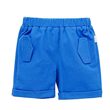Baby Gutt Grunnleggende Daglig Ensfarget Shorts Blå