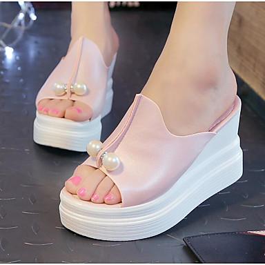 voordelige Damessandalen-Dames Sandalen Sandalen met sleehak Sleehak Peep Toe Parel PU Comfortabel Zomer Wit / Zwart / Roze