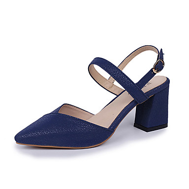 levne Dámské sandály-Dámské Sandály Block Sandále s podpatkem Block Heel PU S páskem Léto Černá / Červená / Modrá / Party / Party