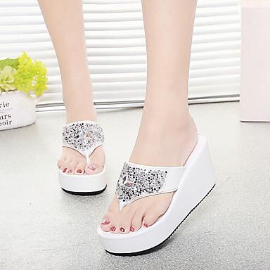 voordelige Damespantoffels & slippers-Dames Slippers & Flip-Flops Creepers Ronde Teen Strass PU Comfortabel Zomer Wit / Zwart