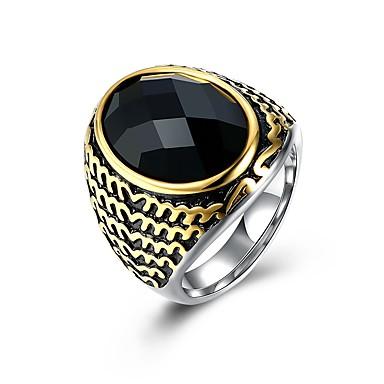 levne Pánské šperky-Pánské Band Ring Syntetický safír 1ks Stříbrná Titanová ocel Nerezové Geometric Shape Módní Armáda Dar Denní Šperky Cool