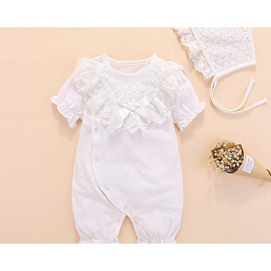 povoljno Odjeća za bebe-Dijete Djevojčice Osnovni Dnevno Jednobojni Nabori / Bride & Groom Style / Osnovni Kratki rukav Pamuk Jednodijelno Obala