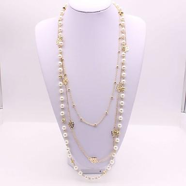 1e2125f8c87e Mujer Largo Doble Collares en capas collar largo Perla Artificial Flor damas  Clásico Moda Dorado 56+5 cm Gargantillas Joyas 1pc Para Diario 6750805 2019  – ...