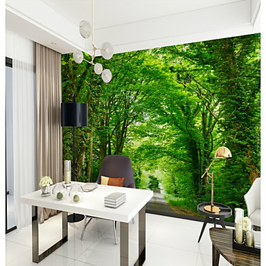 cheap Wall Art-Green Oxygen Bar Forest View Customized Wallcovering 3D Mural Wallpaper Suitable for Office Bedroom