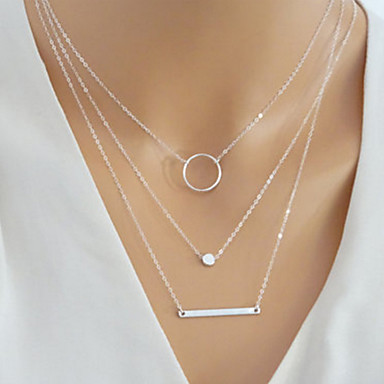 povoljno Modne ogrlice-Žene slojeviti Ogrlice Više slojeva Jabuka Karma ogrlica Jednostavan Europska Moda Legura Zlato Pink 40 cm Ogrlice Jewelry 1pc Za Dnevno