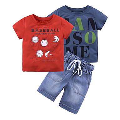 povoljno Odjeća za dječake-Dijete koje je tek prohodalo Dječaci Vintage Aktivan Dnevno Škola Print Rupica Kratkih rukava Regularna Normalne dužine Pamuk Komplet odjeće Red