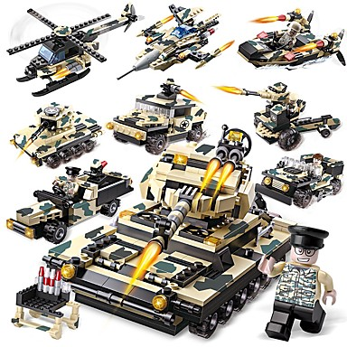 Byggeklosser Konstruksjonssett Leker Pedagogisk leke 834 pcs Militær Tank kompatibel Legoing Kreativ Alle Gutt Jente Leketøy Gave