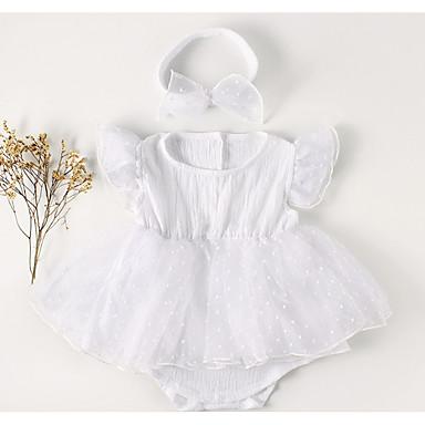 preiswerte Einteiler für kleine Mädchen-Baby Mädchen Grundlegend Alltag Solide Gerüscht / Gitter / Grundlegend Kurze Ärmel Baumwolle Einzelteil Weiß