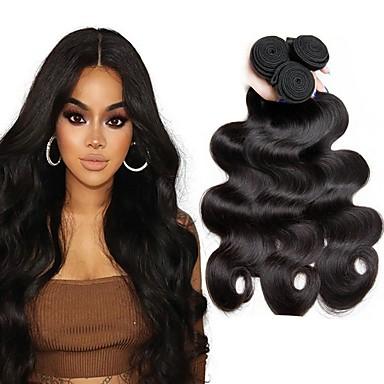 povoljno Ekstenzije od ljudske kose-3 paketa Peruanska kosa Wavy Ljudska kosa Ljudske kose plete Produžetak Bundle kose 8-28 inch Prirodna boja Isprepliće ljudske kose Klasični Najbolja kvaliteta Proširenja ljudske kose / 8A