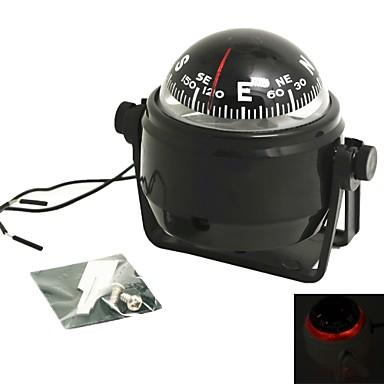 billige Interiørtilbehør til bilen-sving kompass dashbord dash mount marine båt lastebil svart med led lys kompasser