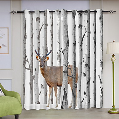 3D Curtains Dining Room Geometric Polyester Printed Blackout