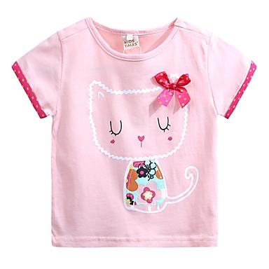 رخيصةأون كنزات البنات-كنزة مطبوعة قطن كم قصير طباعة طباعة قطة رياضي Active للفتيات أطفال