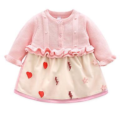Baby Jente Aktiv Trykt mønster Langermet Kjole Rosa