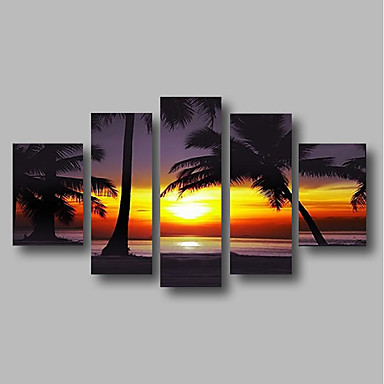 cheap Wall Art-Oil Painting Hand Painted - Abstract / Landscape Comtemporary Canvas