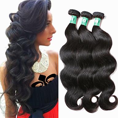 povoljno Ekstenzije od ljudske kose-3 paketa Brazilska kosa Tijelo Wave Virgin kosa Ljudska kosa Ljudske kose plete 8-30 inch Crna Isprepliće ljudske kose Nježno Crn Proširenja ljudske kose / 10A