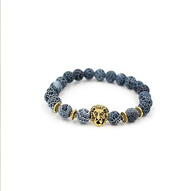 levne Pánské šperky-Pánské Achát Korálkový náramek Zvířata příroda Módní Achát Náramek šperky Zlatá / Stříbrná Pro Dar Denní / Postříbřené / Pozlacené