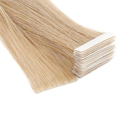 levne Příčesky z pravých vlasů-Neitsi Lepící Rozšíření lidský vlas Volný Přírodní vlasy Příčesky z pravých vlasů Rozšíření vlasové útkové vlasy 20 inch Blonďatá 100% ručně vázaná Double Drawn Tlustý konec vlasů Dámské Béžov