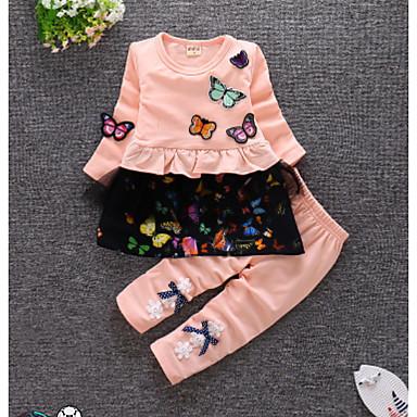 povoljno Najprodavanije-Dijete Djevojčice Ležerne prilike Dnevno Jednobojni Dugih rukava Regularna Pamuk Komplet odjeće Blushing Pink / Dijete koje je tek prohodalo