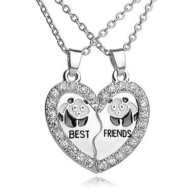 povoljno Modne ogrlice-Žene Kubični Zirconia Ogrlice s privjeskom Slomljeno srce Srce Panda Najbolji prijatelji Prijateljstvo dame Jednostavan Ležerne prilike Moda Legura Pink 45 cm Ogrlice Jewelry 2pcs Za Dar Dnevno