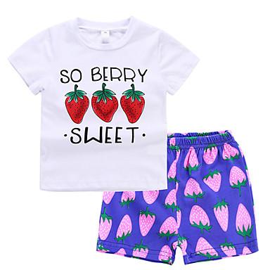 preiswerte Magst du Früchte?-Baby Mädchen Grundlegend Alltag Frucht Druck Kurzarm Standard Standard Kleidungs Set Weiß