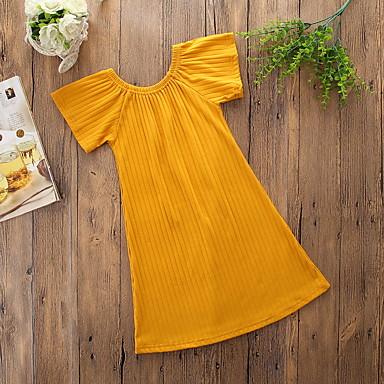 Νήπιο Κοριτσίστικα Μπόχο Πάρτι Καθημερινά Μονόχρωμο Σουρωτά Κοντομάνικο Φόρεμα Κίτρινο / Βαμβάκι / Χαριτωμένο