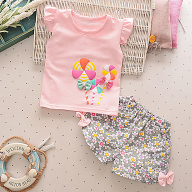cheap Baby Girls' Clothing Sets-Baby Girls' Casual / Active Daily / Going out Sun Flower Floral Print Short Sleeve Regular Cotton Clothing Set Blushing Pink / Toddler