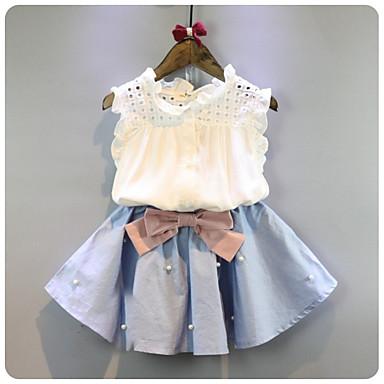 60fd5e360 مجموعة ملابس قطن قصيرة بدون كم لون سادة أساسي للفتيات أطفال 6717472 2019 –  $12.96