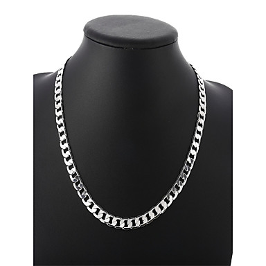 levne Pánské šperky-Pánské Řetízky Kubánský odkaz Kroucený Box řetěz Jednoduchý Základní Módní Měď Postříbřené Stříbrná 50 cm Náhrdelníky Šperky 1ks Pro Denní Street