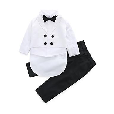 billige Babytøj Drenge Drenge-Baby Drenge Aktiv Fest Fødselsdag Ensfarvet Langærmet Normal Tøjsæt Hvid