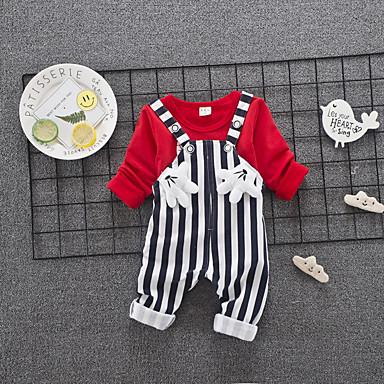 povoljno Odjeća za bebe-Dijete Uniseks Vintage Dnevno Crno-crvena Jednobojni / Geometrijski oblici Drapirano Kratkih rukava Regularna Normalne dužine Lan Komplet odjeće Obala / Dijete koje je tek prohodalo