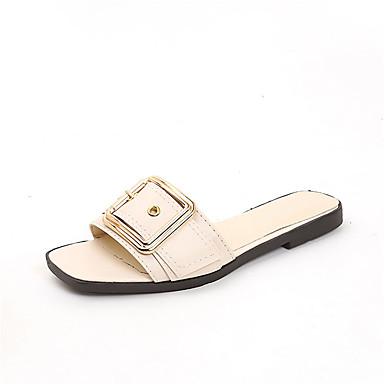 Mujer Zapatos PU Primavera verano Talón Descubierto Zapatillas y flip-flops Tacón Plano Negro / Beige nUGMi8