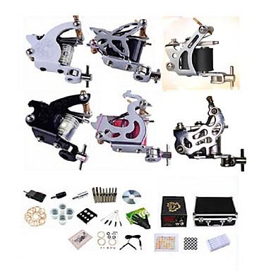 BaseKey Professionell Tattoo Kit Tattoo Machine - 6 pcs Tatueringsmaskiner, Professionell / Hög kvalitet, fri formaldehyd Legering 20 W LCD strömförsörjning 4 x stål tatueringsmaskin för linjer och