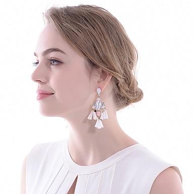 povoljno Naušnice-Žene Kubični Zirconia Viseće naušnice Ispustiti Cvijet Klasik Elegantno Naušnice Jewelry White and Sliver Za Vjenčanje Večer stranka 1 par