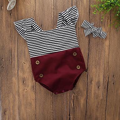 Baby Jente Vintage / Aktiv Daglig / Ferie Ensfarget / Stripet Stripe Kort Erme Body Vin