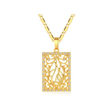 povoljno Modne ogrlice-Žene Ogrlice s privjeskom Debeli lanac Šupalj Medaljon dame Vintage Etnikai Talijanski 18K pozlaćeni Kamen Zlato Pink 50 cm Ogrlice Jewelry 1pc Za Party Dar