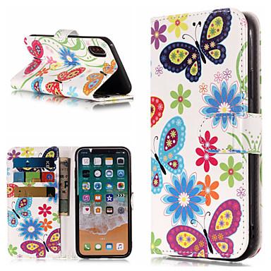 Etui Til Apple iPhone X / iPhone 8 Plus / iPhone 8 Lommebok / Kortholder / med stativ Heldekkende etui Sommerfugl / Blomsternål i krystall Hard PU Leather
