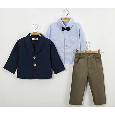 povoljno Odjeća za dječake-Djeca Dijete koje je tek prohodalo Dječaci Vintage Ulični šik Dnevno Škola Jednobojni Dugih rukava Regularna Dug Komplet odjeće Plava