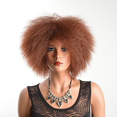 Syntetiske parykker Krøllet Lagvis frisyre Parykk Kort Medium Rødbrun Jet Svart Svart / Brun Syntetisk hår Dame Fest Svart Brun