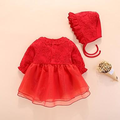 preiswerte Einteiler für kleine Mädchen-Baby Mädchen Aktiv / Grundlegend Alltag Solide Gitter / Grundlegend Halbe Ärmel Baumwolle Einzelteil Weiß