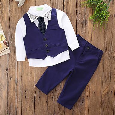 povoljno Odjeća za dječake-Djeca Dječaci Osnovni Ulični šik Dnevno Praznik Jednobojni Zakovica Dugih rukava Regularna Komplet odjeće Plava