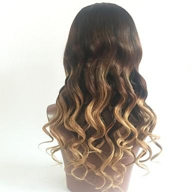 Ubehandlet hår Blonde Forside Parykk Lagvis frisyre Beyonce stil Brasiliansk hår Bølget Blond Parykk 130% Hair Tetthet med baby hår Ombre-hår Mørke røtter Dame Kort Medium Lengde Lang Blondeparykker